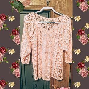 Peach Colored Crochet Sweater Set
